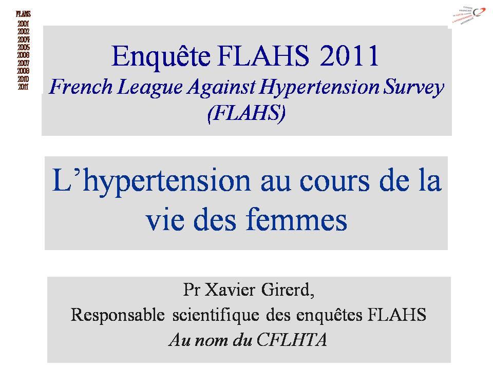 Femme et HTA : Enquête FLAHS 2011
