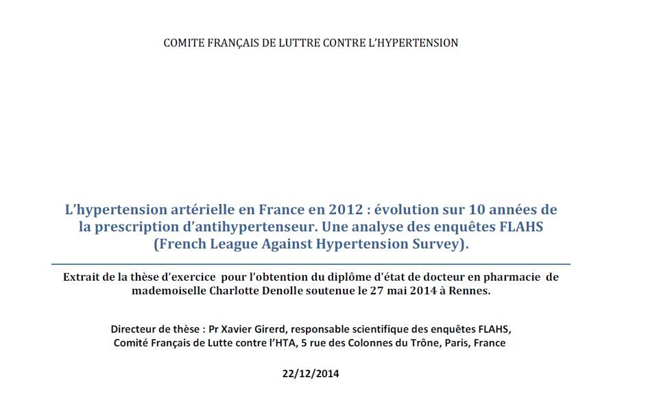 Traitements de l'HTA en France de 2002 à 2012 : études FLAHS
